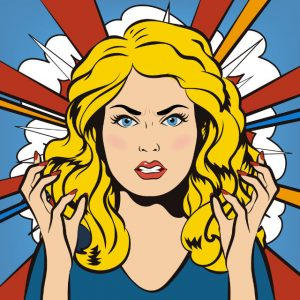 Young furious Girl. Bad Days. Bad Mood. Comic Background. Pop Art Banner.
